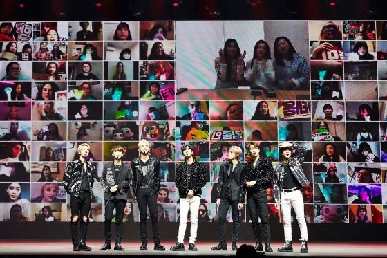 SM그룹의 슈퍼엠은 지난 4월 네이버 브이라이브를 통해 '슈퍼엠-비욘드 더 퓨쳐' 온라인 콘서트를 개최했다.[사진=SM엔터테인먼트]